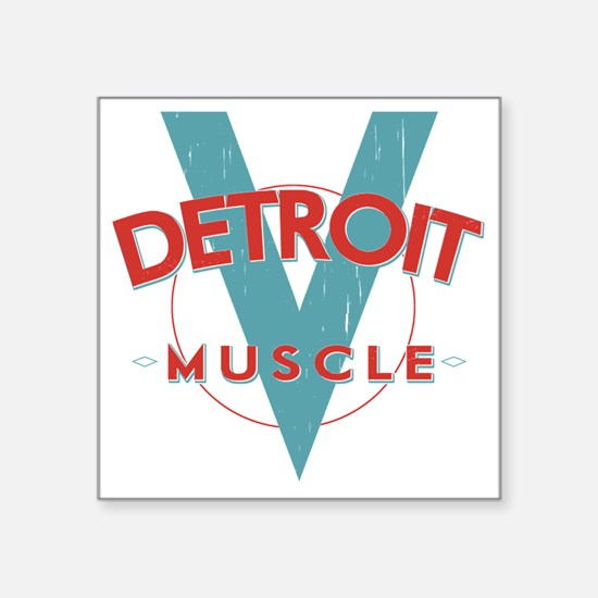 "Detroit Muscle red n blue Square Sticker 3"" x 3"""