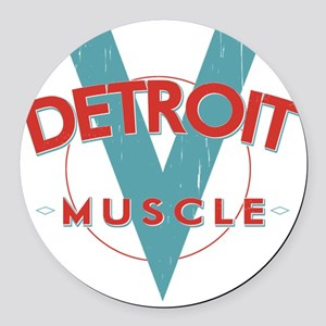 Detroit Muscle red n blue Round Car Magnet