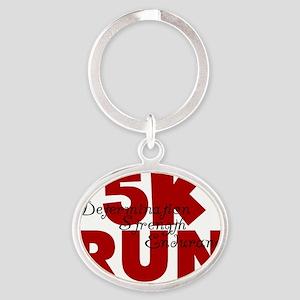 5K Run Red Oval Keychain