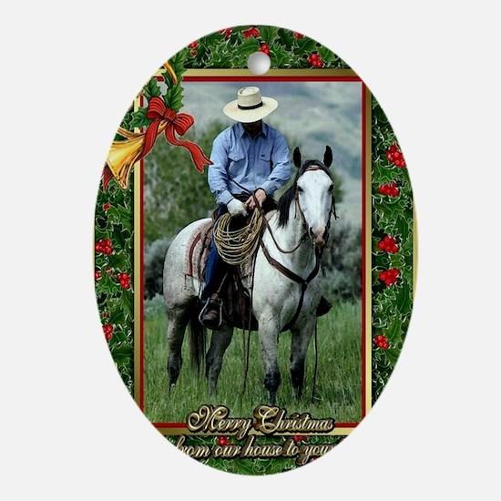 Cowboy Quarter Horse Christmas Oval Ornament