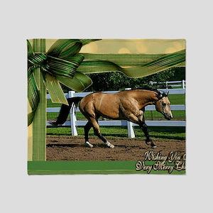 Buckskin Quarter Horse Christmas Throw Blanket
