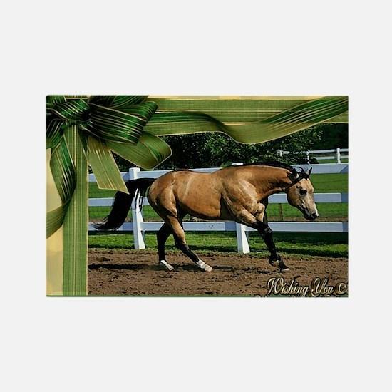 Buckskin Quarter Horse Christmas Rectangle Magnet
