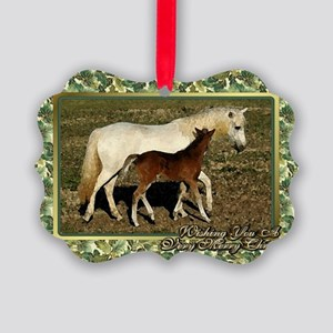 Welsh Pony Mare And Foal Christma Picture Ornament