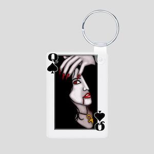 Queen of Spades Aluminum Photo Keychain