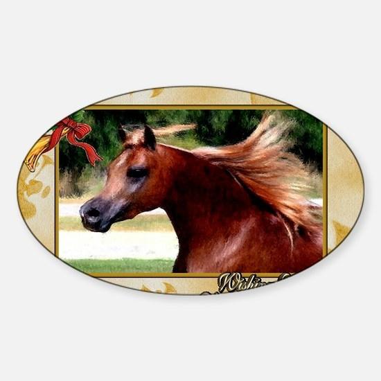 Arabian Horse Christmas Sticker (Oval)