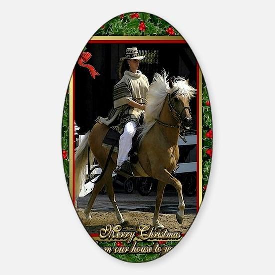 Peruvian Paso Horse Christmas Sticker (Oval)