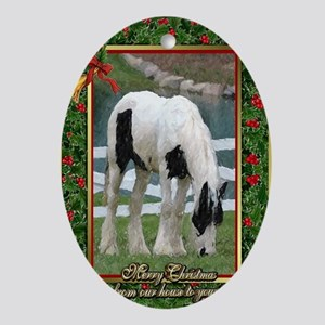 Gypsy Vanner Horse Christmas Oval Ornament