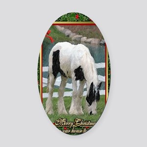 Gypsy Vanner Horse Christmas Oval Car Magnet