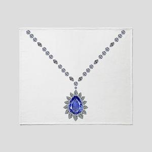 Sapphire Pendant Necklace Throw Blanket