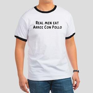 Men eat Arroz Con Pollo Ringer T