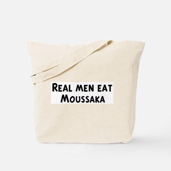 Men eat Moussaka Tote Bag