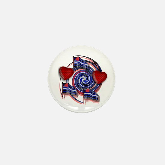 LEATHER SWIRL/FLAGS/HEARTS Mini Button