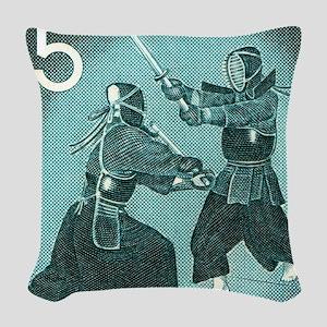 Vintage 1960 Japan Kendo Posta Woven Throw Pillow
