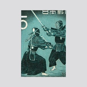 Vintage 1960 Japan Kendo Postage  Rectangle Magnet