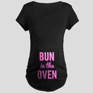 Bun in the Oven Funny Maternity Dark T-Shirt