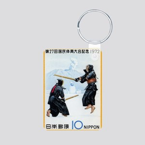 Vintage 1972 Japan Kendo P Aluminum Photo Keychain