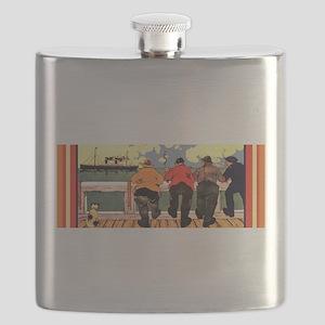 VintageAmericanLineShipsPoster Flask
