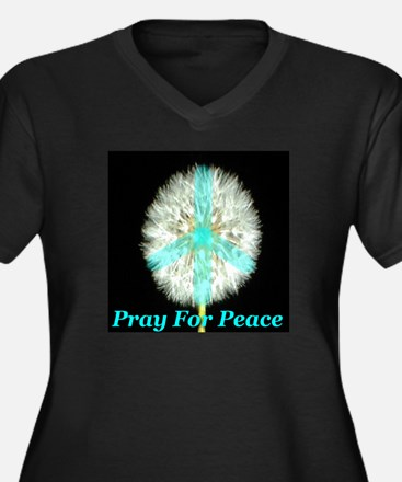Pray For Peace Women's Plus Size V-Neck Dark T-Shi