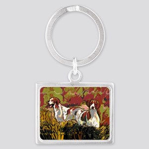 Brittany spaniels in the field Landscape Keychain
