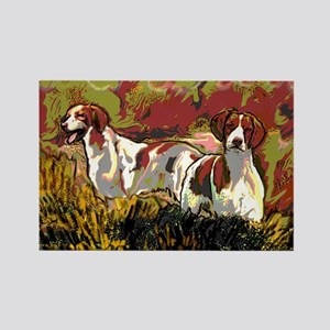 Brittany spaniels in the field Rectangle Magnet