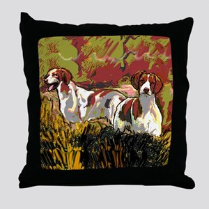 Brittany spaniels in the field Throw Pillow