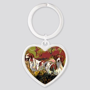 Brittany spaniels in the field Heart Keychain