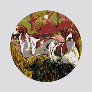 Brittany spaniels in the field Round Ornament