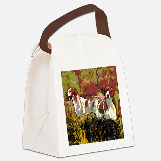 Brittany spaniels in the field Canvas Lunch Bag