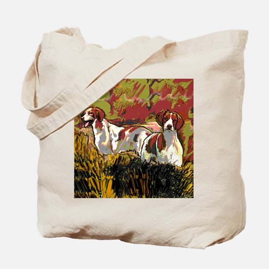Brittany spaniels in the field Tote Bag