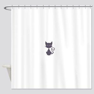 Gray cat Shower Curtain