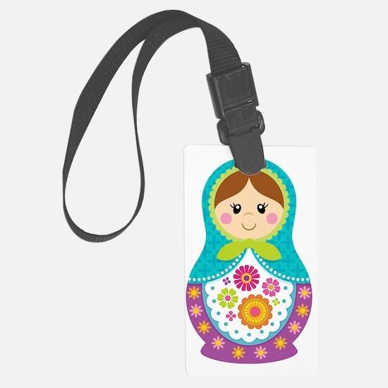 Matryoshka Girl, Blue Luggage Tag