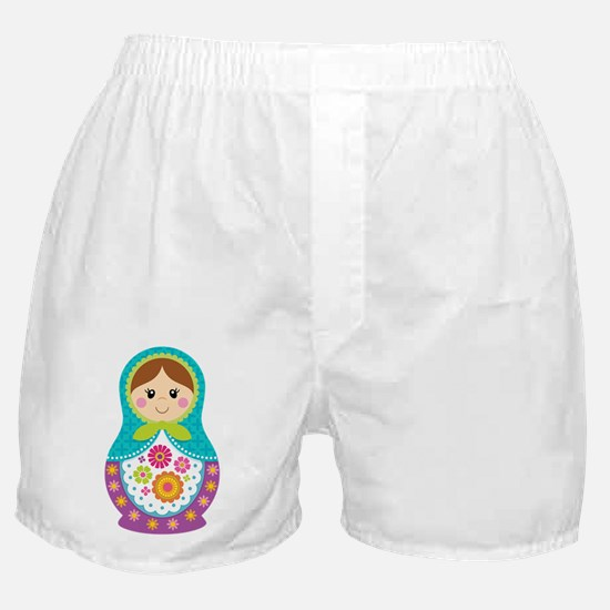 Matryoshka Girl, Blue Boxer Shorts