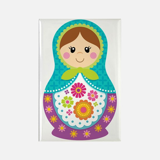 Matryoshka Girl, Blue Rectangle Magnet