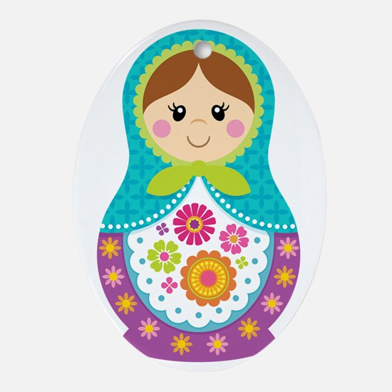 Matryoshka Girl, Blue Oval Ornament