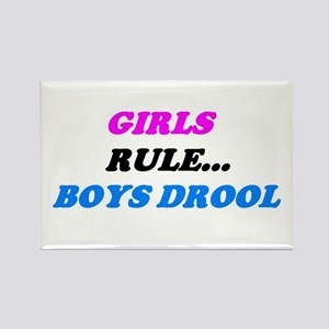 GIRLS RULE BOYS DROOL Rectangle Magnet
