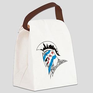 Chicago Spartan Helmet Logo Canvas Lunch Bag