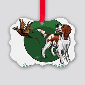 Irish Red and White Setter Picture Ornament