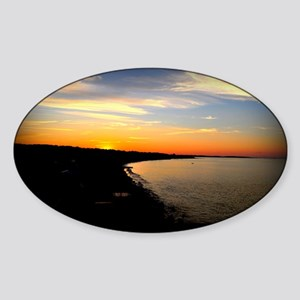 Sunset over Sand Hills with Border Sticker (Oval)