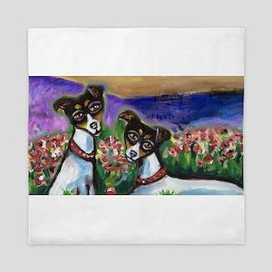 Rat Terrier love Queen Duvet