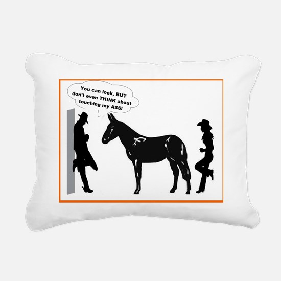 mule sense don't touch m Rectangular Canvas Pillow