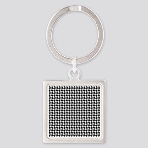 Houndstooth  White Square Keychain