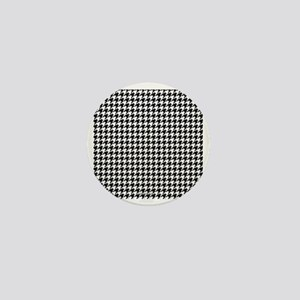 Houndstooth  White Mini Button