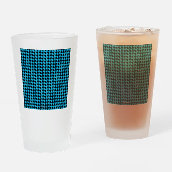 Houndstooth   Blue Drinking Glass