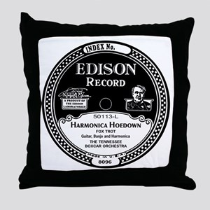 Harmonica Hoedown Edison Record label Throw Pillow