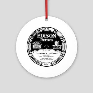 Harmonica Hoedown Edison Record lab Round Ornament