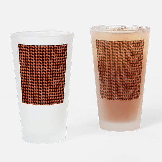 Houndstooth  Orange Drinking Glass