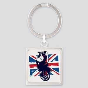 Union Jack Scooter Square Keychain