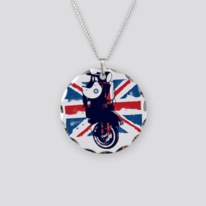 Union Jack Scooter Necklace Circle Charm