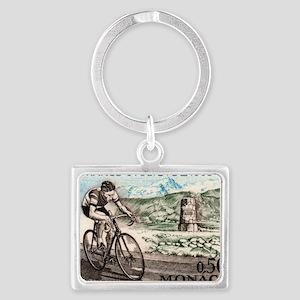 1963 Monaco Racing Cyclist Post Landscape Keychain