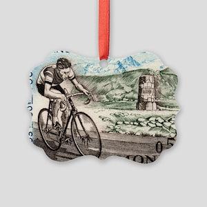 1963 Monaco Racing Cyclist Postag Picture Ornament